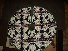 ANGELS PLAYING TRUMPETS.WOVEN CHRISTMAS TREE SKIRT.100% COTTON.
