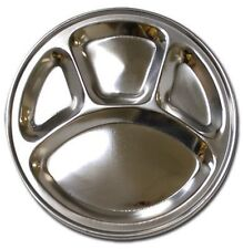 Stainless Steel Round Divided Dinner Plate 4 sections by Ai-De-Chef, NEW