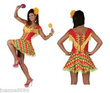 *Ladies Mexican Spanish Chilli Pepper Print Flamenco Fancy Dress Costume Outfit*