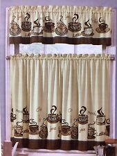 Zebra Animal Print Coffee Cup Mug Latte Kitchen Curtain Tier & Valance Set 36