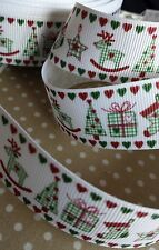25mm Grosgrain Christmas Images Ribbon. Red, Green & White. Craft, Wrap, Card.