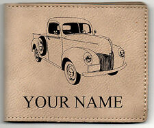 40 Ford Pickup Leather Billfold With Drawing and Your Name On It-Nice Quality