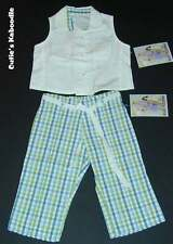 NEW NWT PLUM PUDDING Spring Yacht Club 2pc White Shirt Plaid Pants Set 3T