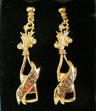 AVON*VTG*REDUCED*TOAST TO NEW YEAR'S EARRINGS W/SURGICAL STEEL POSTS 1992*NIB*