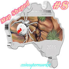 2015 Australia Map Shaped Series Redback Spider 1oz Silver Coin Perth COA & Box!