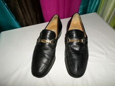 GUCCI 'Interlocking G' Black CALF SKIN LEATHER Loafers Size US 8.5 D
