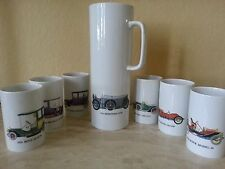 Thomas Ceramic Pitcher Set - Chocolate Pot Set - Vintage Antique Car Design