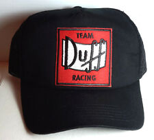 Simpsons Duff Racing Team Logo Trucker/Baseball BLACK Cap/Hat-FREE S&H- UNWORN