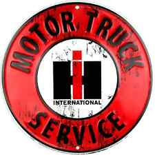 International Harvester Motor Truck Service Embossed Metal Circular Sign Garage