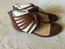 NEW DOLCE VITA WOMEN'S BROWN LEATHER STRAPPY SANDALS 8.5