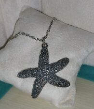 Ross Simons oxidize Sterling silver Puffy Starfish Beach Star Sea Shell necklace