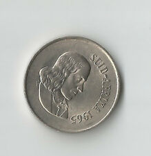 SOUTH AFRICA -SUID-AFRIKA1965 10 CENTS COIN; JAN VAN RIEBECK, ALOES