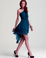 Max And Cleo by BCBG Phoebe One Shoulder Azure Blue High-Low Dress M