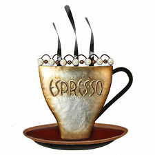 Contemporary Steaming Espresso Coffee Cup Metal Wall Art Brown & Pearl Beads
