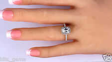 1.90 CT Emerald CUT ENHANCED D/SI1 HALO DIAMOND ENGAGEMENT RING 14K WHITE GOLD
