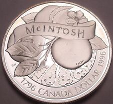 Silver Proof Canada 1996 Mcintosh Apple Dollar~Only 133,779 Minted~Free Shipping