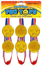 144 xChildren Gold Plastic Winners Medals Sports Day Party Bag Prize Awards Toys