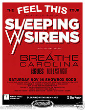 SLEEPING WITH SIRENS / BREATHE CAROLINA /ISSUES 2013 SEATTLE CONCERT TOUR POSTER
