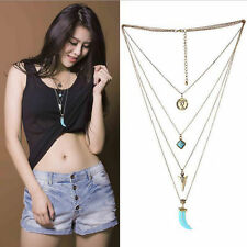 Women Bohemia Multilayer Tassel Turquoise Pendant Long Sweater Chain Necklace