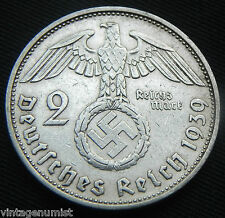 "Nazi Germany Hitler 1939 ""2 Reichsmark SILVER"" antique coin...."