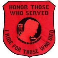 BACK PATCH HONOR THOSE SERVED RED POW VET Biker War Military Veteran LRG-0206