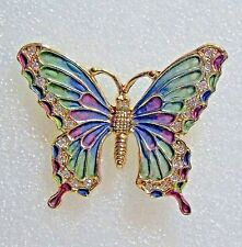 VINTAGE GOLD PLATED MIXED COLOR  WITH RHINESTONES BUTTERFLY PIN BROOCH
