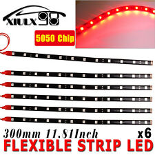 "6X Waterproof 5050 SMD 30CM/12"" Red 12 LED Car Motors Truck Flexible Strip Light"
