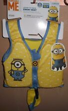 DESPICABLE ME MINIONS LEARN TO SWIM VEST FLOATY MEDIUM/LARGE 33-55LBS  NEW!