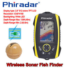 Phiradar FF288W Waterproof Sonar Fish Finder 45M Depth Alarm Ice Boat Fishfinder