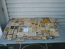 HUGE LOT OF 134 WOOD MOUNTED RUBBER STAMPS VARIOUS MAKERS THEMES SCRAPBOOKING
