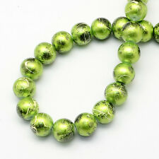 6mm Spray Painted Drawbench Glass Round Bead Strands Jewellery Making LIme Green