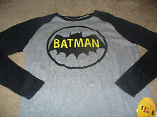Batman DC Comics Mens KO Black & Gray Long Sleeve T-Shirt  Size 2XL