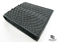 PELGIO Real Genuine Python Skin Leather Credit Card Bifold Slim Wallet Black New