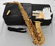 Professional Gold Alto Saxophone Sax Double rails High F Abalone Shell 10Pc Reed