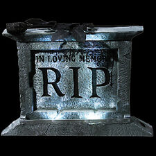 Gothic Light-Up RIP TOMBSTONE PEDESTAL Halloween Prop Haunted House Decoration