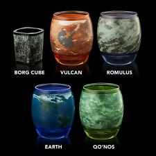 New STAR TREK Glassware Set 4 Planetary Glassware 10oz +1 Shot Glass Cup Set NIB