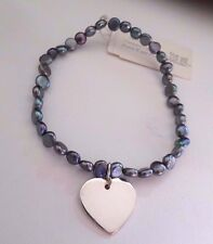 Freshwater Pearls and Sterling Silver Heart Bracelet Stretch Gray Pearls