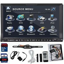 "Hi-Def 7"" HD In Deck Double 2 DIN Car GPS DVD Player BT Radio Stereo+Back Camera"