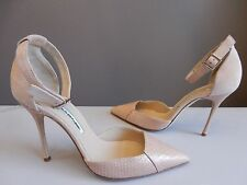 $845 NEW Manolo Blahnik Pointed toe Blush Snakeskin and suede D'orsay pumps 37.5
