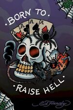 ED HARDY ~ BORN TO RAISE HELL 24x36 ART POSTER TATTOO NEW/ROLLED!