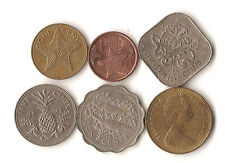 Six coins from The Bahamas, 1, 5, 10, and 15 cents, dated 1966-2015, bonefish