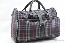 Auth Burberrys Check Travel Boston Bag Patter PVC Canvas Navy 24765