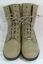ALDO Size 8 fits 8.5 Taupe Nubuck Leather Lace Up Combat Boots