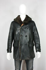 Vintage horsehide leather jacket M barnstormer coat sheepskin lined black 40's
