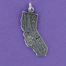 California State Charm Sterling Silver for Bracelet Golden LA San Francisco
