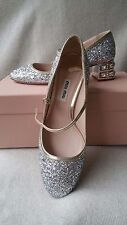 NIB Miu Miu Prada Glitter Mary Jane SIlver Pump 35.5 Jeweled Heel Crystal Shoes