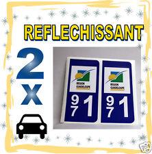 2 stickers REFLECHISSANT département 971 rétroréfléchissant immatriculation AUTO