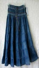 New~Maxi Vintage Washed Denim Blue Tiered Peasant Boho Prairie Dress Skirt~M/L