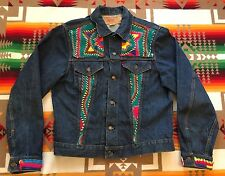 Vtg Levis Trucker Dark Denim Jean Jacket Hippie Type 3 Size L/ XL 46 USA Made