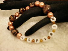 "Handmade 6 1/2"" ASPIRIN ALLERGY ID Alert Glass Brown Crystal Bracelet/Jewelry"